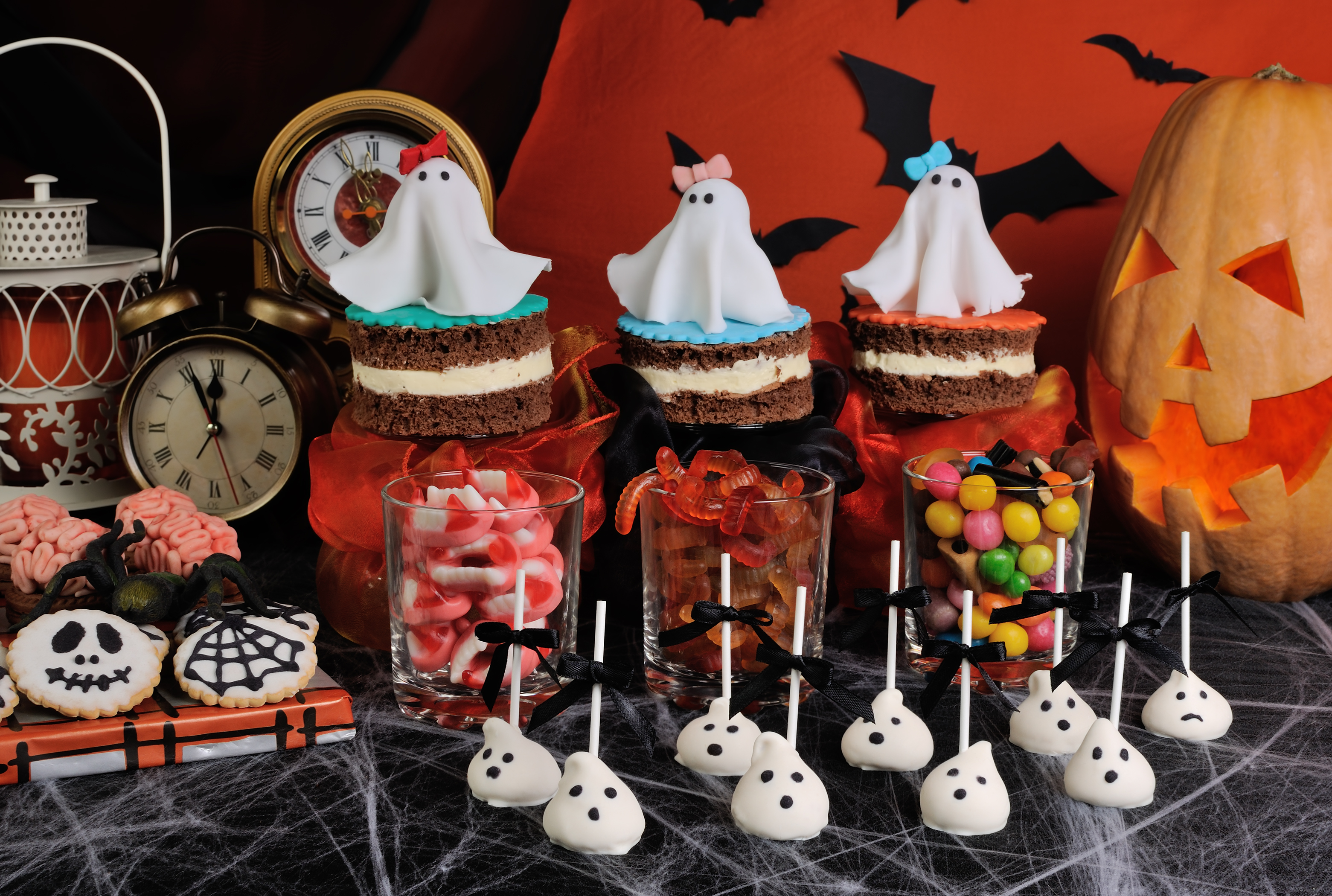 A variety of sweets on the table in honor of Halloween